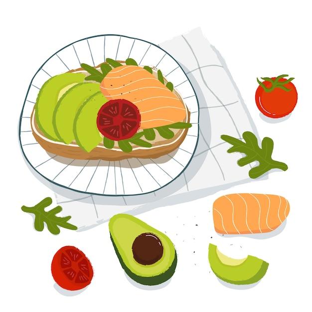 Saudável café da manhã, torradas com abacate, salmão e tomate, vista superior. conceito de comida vegetariana Vetor Premium