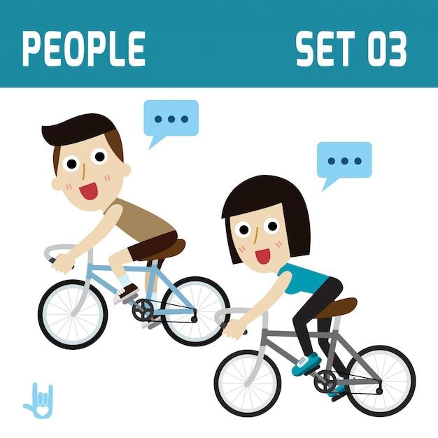 Saudável e feliz ciclista casal equitação saúde conceito plana design ilustração Vetor Premium