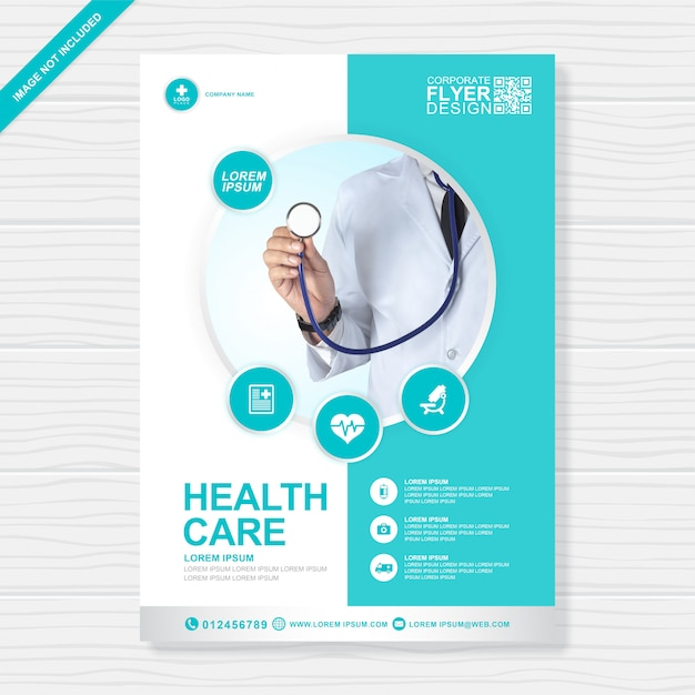 Saúde corporativo e cobertura médica modelo de design de folheto a4 Vetor Premium