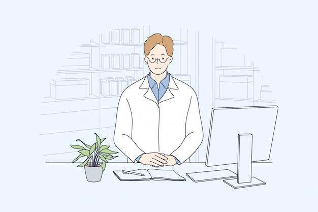 Saúde, cuidados, medicina, conceito de farmácia Vetor Premium