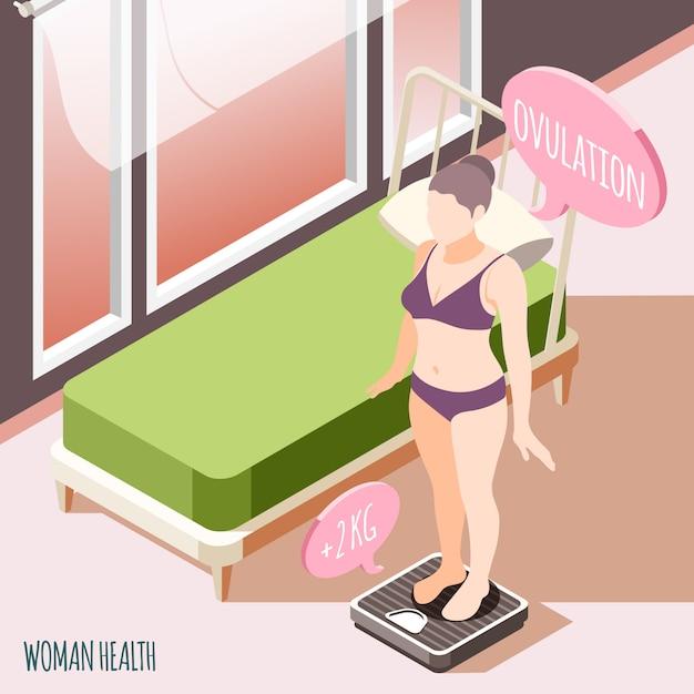 Saúde da mulher isométrica com jovem mulher grávida em pé na balança de chão e verificando sua ilustração vetorial de peso Vetor grátis