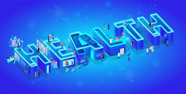 Saúde da palavra isométrica de néon 3d criativa. Vetor Premium