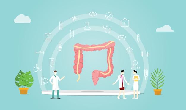 Saúde do cólon humano com médico Vetor Premium