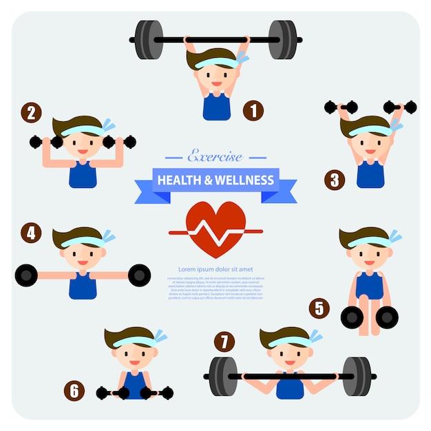 Saúde e bem-estar, musculação Vetor Premium