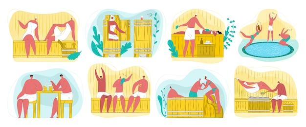 Sauna, spa e casa de vapor para o bem-estar corporal, relaxamento, conjunto de procedimentos de limpeza. pessoas desfrutando de vapor quente, massagem e piscina de sauna, galhos de bétula. terapia de spa e banho. Vetor Premium