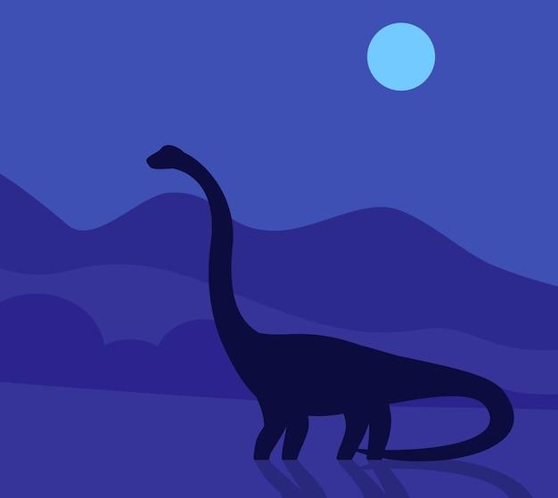 Saurópode, dinossauro à noite Vetor Premium