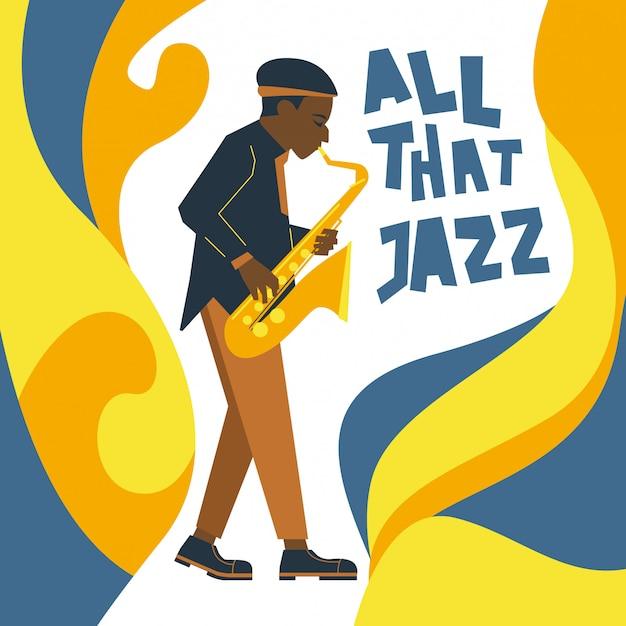 Saxofone estilizado e fluído jazz ornament Vetor Premium