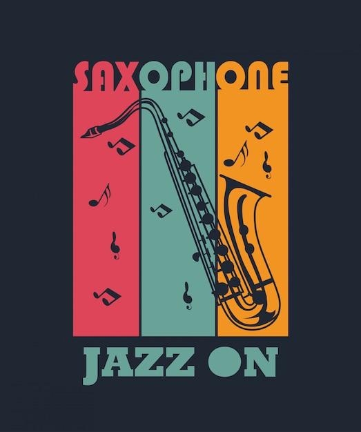 Saxofone para o projeto da camisa de t Vetor Premium