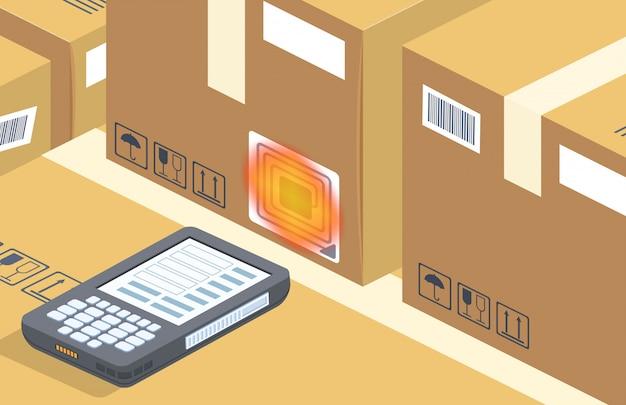 Scanner de código de barras lê a caixa, armazenamento Vetor grátis