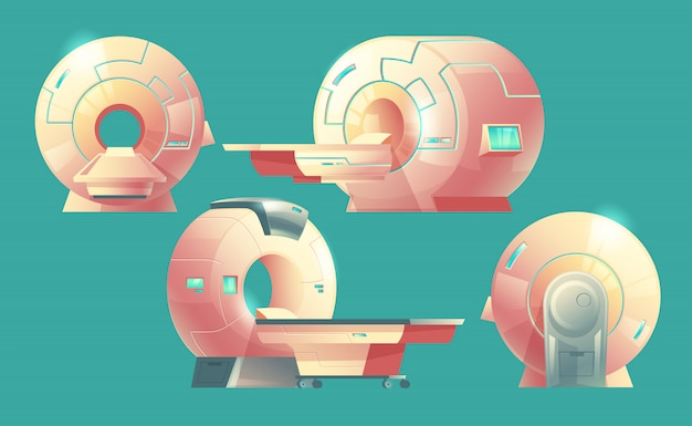 Scanner de ressonância magnética para tomografia, exame médico Vetor grátis