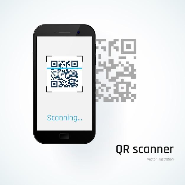 Scanner qr. o celular verifica o código qr. ilustração Vetor Premium