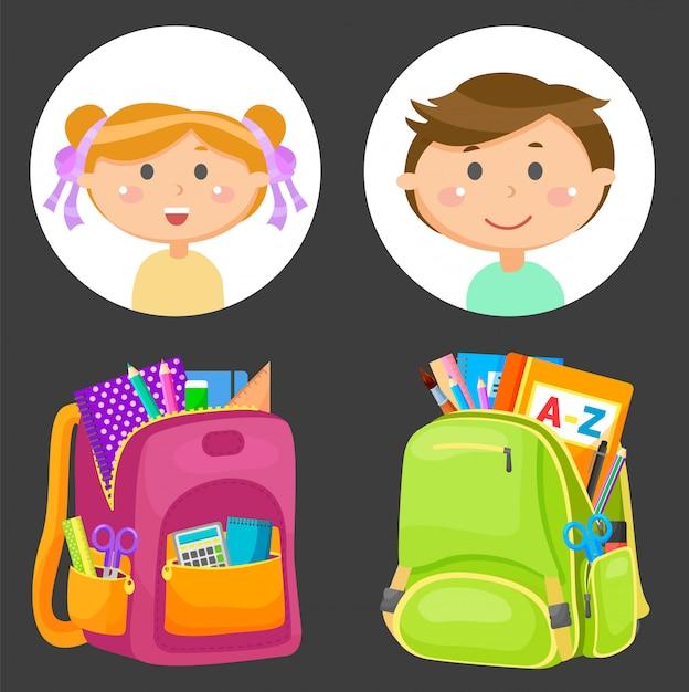 Schoolbags e avatares de crianças em idade escolar, artigos de papelaria Vetor Premium