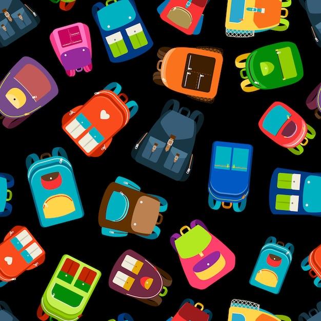 Schoolbags e mochilas escolares ilustração em vetor padrão sem emenda Vetor Premium
