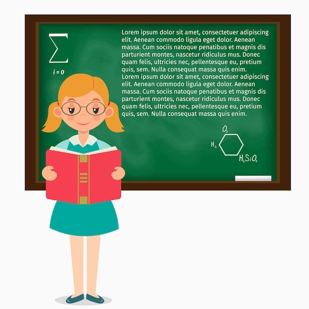 Schoolgirl, em, um, sala aula, ficar, em, a, quadro-negro Vetor Premium