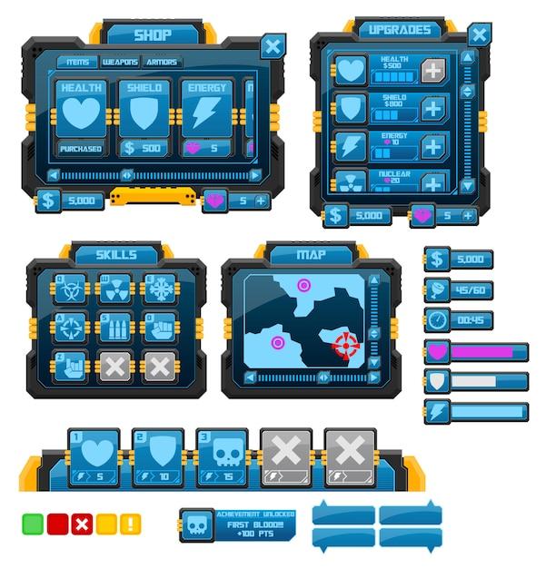 Sci-fi game gui Vetor Premium