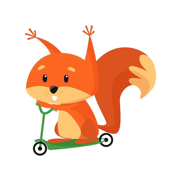 Scooter de equitação de esquilo de bebê fofo Vetor grátis