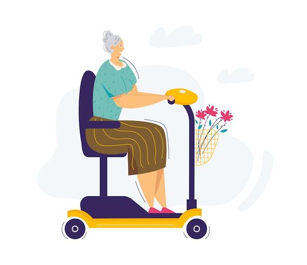 Scooter de equitação de mulher adulta. personagem feminina sênior cavalga em uma cadeira de rodas elétrica. scooter de condução de mulher idosa de avó. Vetor Premium