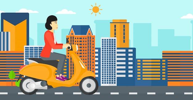 Scooter de equitação de mulher. Vetor Premium
