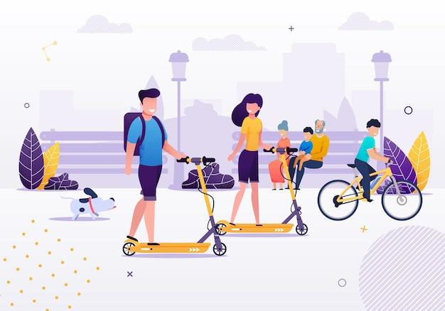 Scooters de equitação de casal dos desenhos animados no parque ou área verde com bicicleta de equitação de menino de cão Vetor Premium