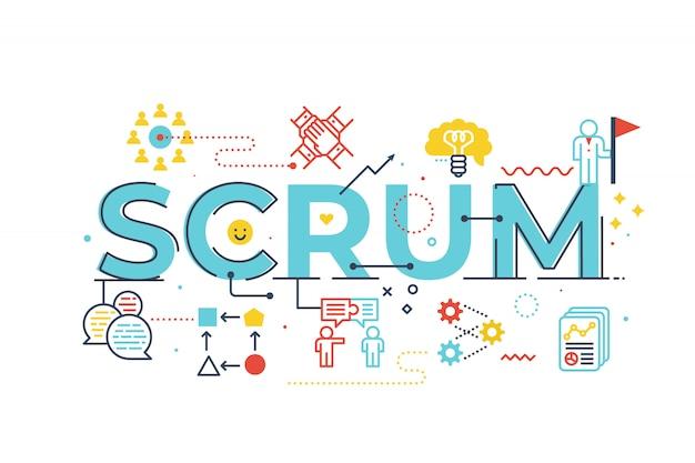 Scrum palavra letras ilustração Vetor Premium