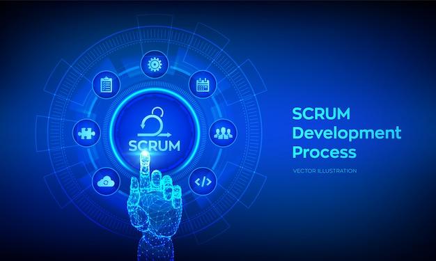 Scrum. processo de metodologia de desenvolvimento ágil. metodologia de sprint iterativo. mão robótica tocando interface digital. Vetor Premium
