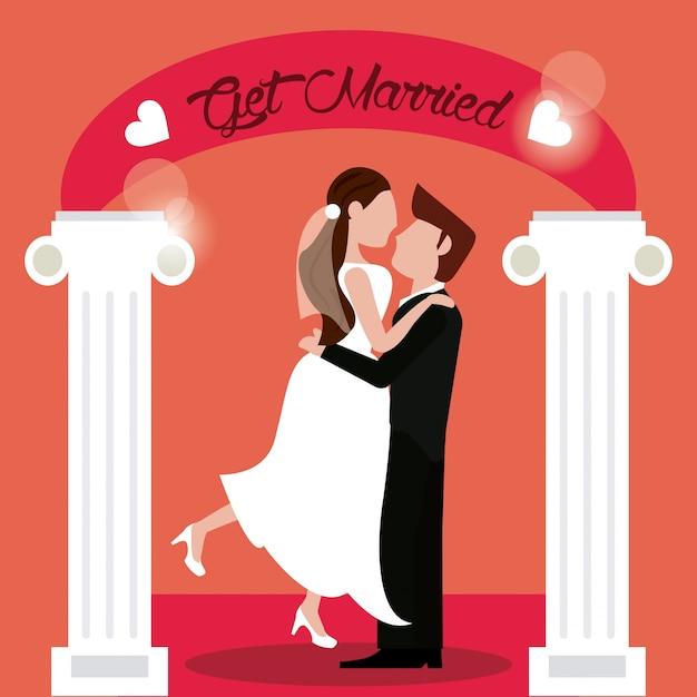 Se casar noivo noiva Vetor Premium