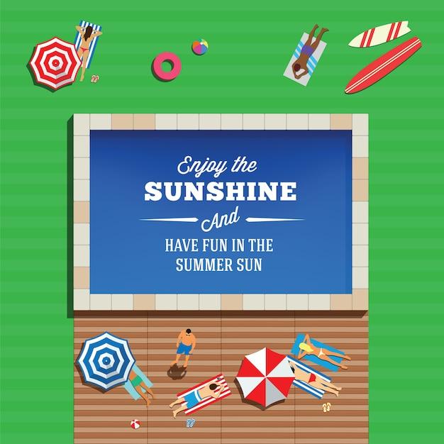 Se divertindo perto de uma piscina na grama verde ao sol de verão Vetor Premium