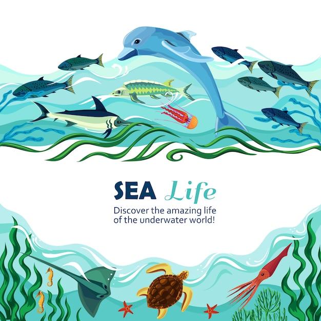 Sea underwater life cartoon ilustração Vetor grátis