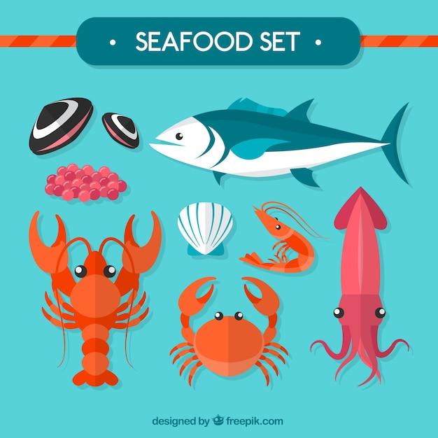 Seafood set Vetor grátis