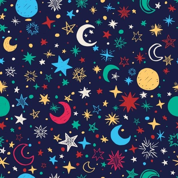 Seamless com estrelas e luas handdrawn Vetor grátis