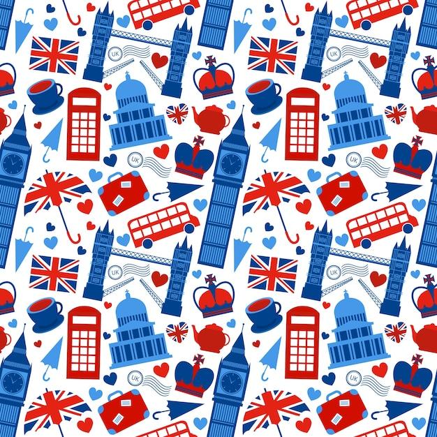 Seamless pattern background with london landmarks e grâ bretanha símbolos ilustração vetorial Vetor grátis