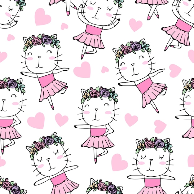 Seamless pattern cute ballerina gato mão desenhada Vetor Premium
