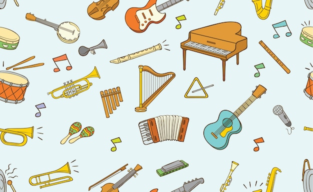 Seamless pattern of doodle musical instrument Vetor Premium