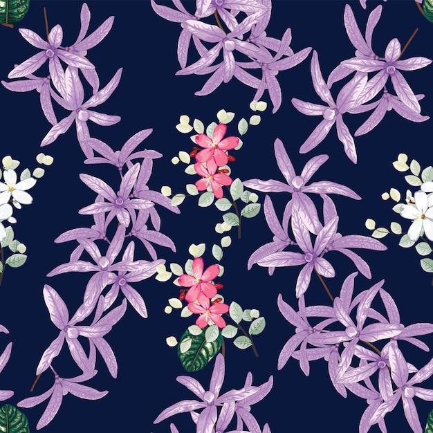 Seamless pattern petrea volubilis e flores silvestres Vetor Premium