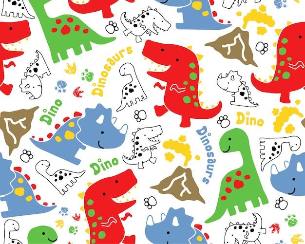 Seamless pattern vector with dinosaurs cartoon Vetor Premium