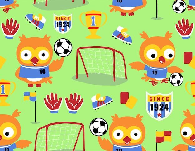 Seamless pattern with owl cartoon o jogador de futebol Vetor Premium