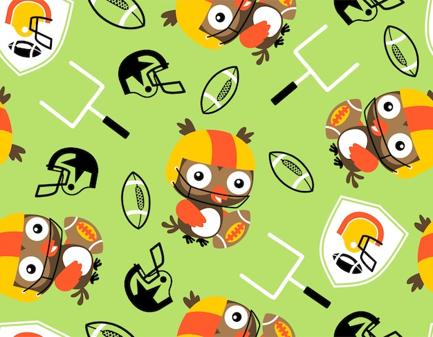 Seamless pattern with owl o jogador de rugby Vetor Premium
