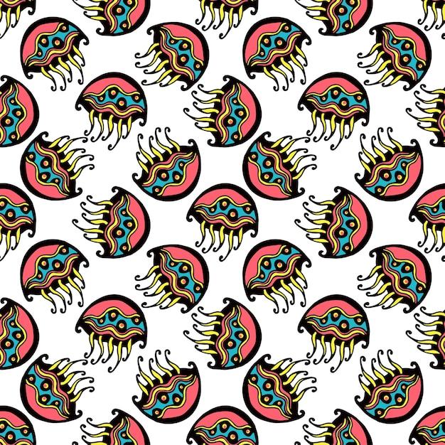 Seamless retro jelly fish kids pattern wallpaper background in vector Vetor Premium