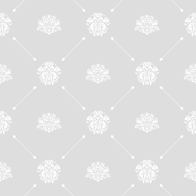 Seamless vector wedding background branco em cinza ou prata padrão Vetor grátis