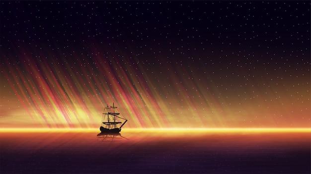 Seascape de noite com um belo pôr do sol laranja no horizonte do mar, céu estrelado e um navio no horizonte Vetor Premium