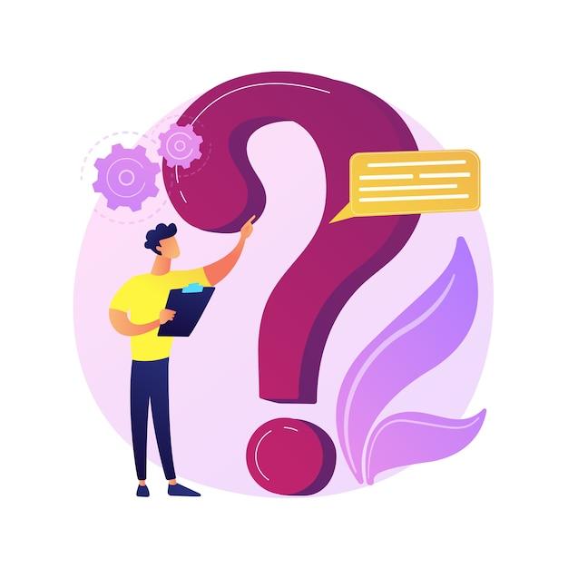 Seção de perguntas frequentes do site. helpdesk ao usuário, suporte ao cliente, perguntas frequentes. solução de problema, jogo de perguntas personagem de desenho animado do homem confuso. Vetor grátis