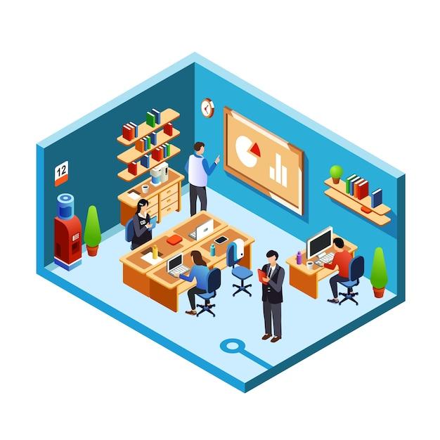 Seção transversal da sala do escritório, coworking com funcionários de trabalho, empregados em seu local de trabalho Vetor grátis