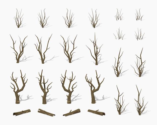 Secas mortas 3d lowpoly árvores isométricas Vetor Premium