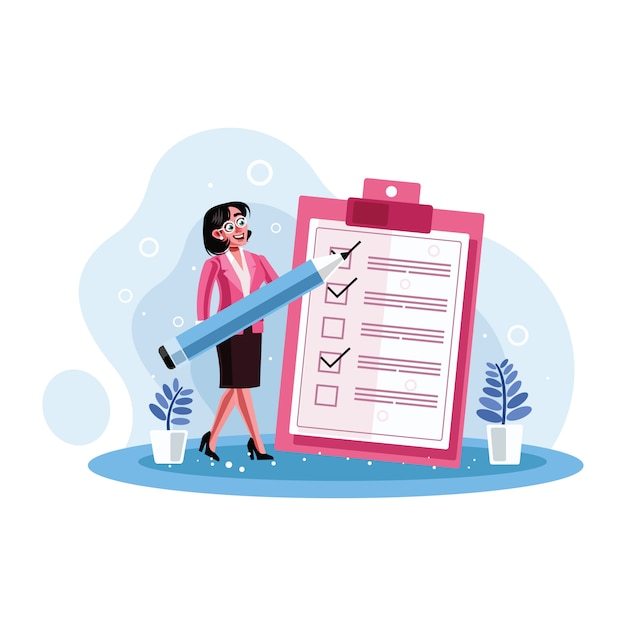 Secretário marcou a lista de verificação em um papel de transferência Vetor Premium