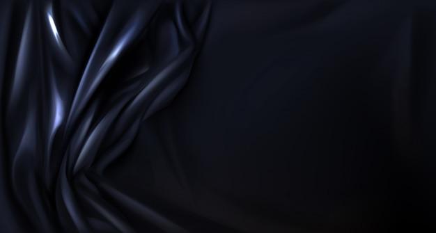 Seda preta, fundo de pano dobrado de látex, têxtil Vetor grátis
