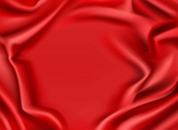 Seda vermelha drapeada fundo de tela. moldura têxtil escarlate brilhante dobrada e luxuosa com centro liso Vetor grátis