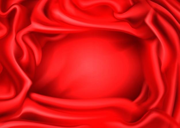 Seda vermelha drapeada fundo de tela. Vetor grátis