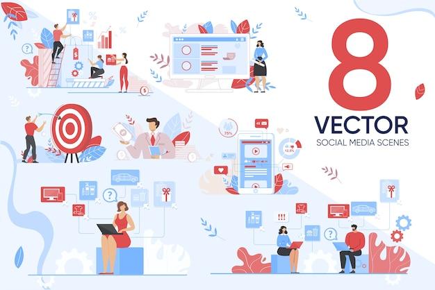 Segmentação de marketing em cenário de mídia social Vetor Premium