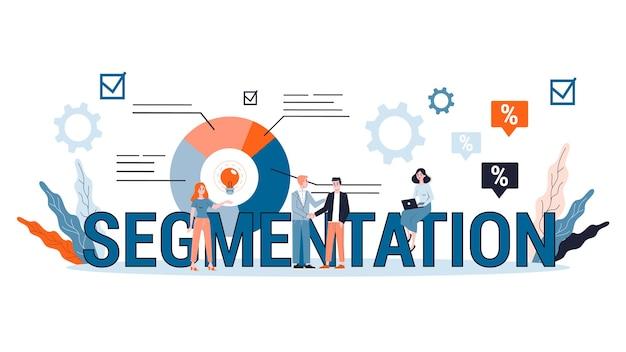 Segmentação no conceito de negócio e marketing. promoção de produtos para diferentes grupos de pessoas. estratégia eficaz. ilustração Vetor Premium