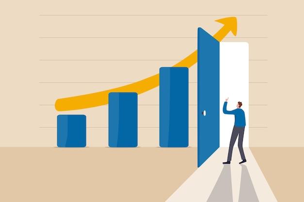 Segredo do sucesso empresarial, ideia de fazer negócios crescer e atingir o conceito de destino Vetor Premium